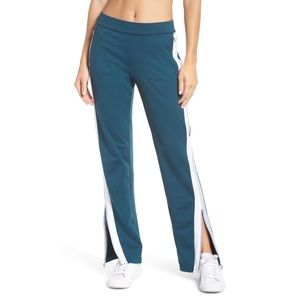 Zella City Side Zip Track Pants Blue Green Small